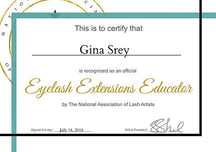 Gina Srey NALA Eyelash Extension Educator diploma