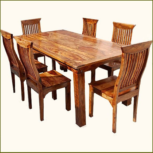 Rustic Solid Wood Dining Table & Chair Set