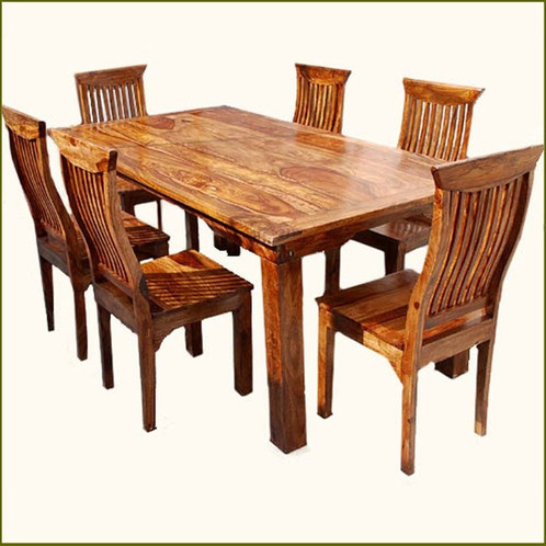 Celebrate The Natural Beauty Of Wood Grain With A Smart Ergonomic Design  With The Rustic Solid Wood Dining Table U0026 Chair Set Furniture.