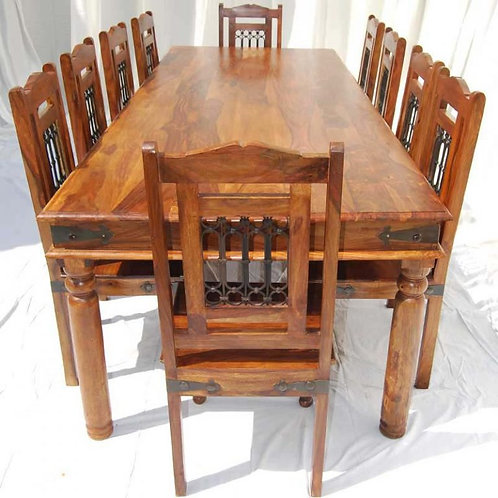 Rustic Solid Wood Large Dining Room Table Chair Set
