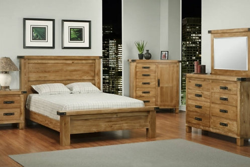Hammerton Solid Wood Bedroom Set in Weathered Brass