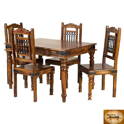 Solid Wood 4 Seater Dining Table Set