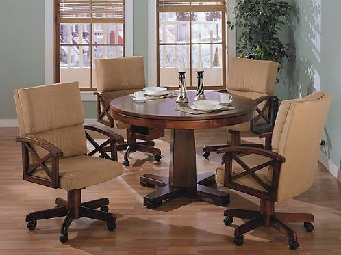 Three-in-One Solid Oak Wood Pool & Poker Game Dining Table Chairs set