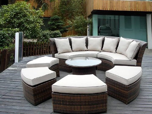 Outdoor Patio Rattan Furniture 7pc All Weather Round Couch Set