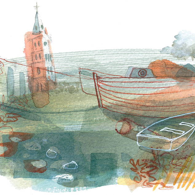 Red Tower and Boats (sold)