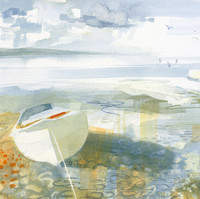 White Boat on Pebbles
