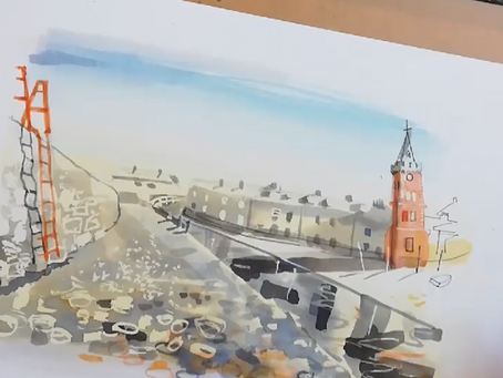 Adding Pen Detail to Habour Watercolour