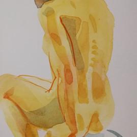 seated figure, watercolour