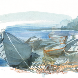 Five Boats and Fishing Nets
