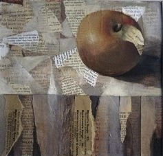 'Conspiring with Fruit' oil and collage