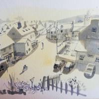 A quiet Spring, Lympstone (from an ink and watercolour study of the main village street during Lockdown)