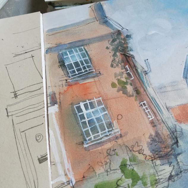sketchbook study of home street view