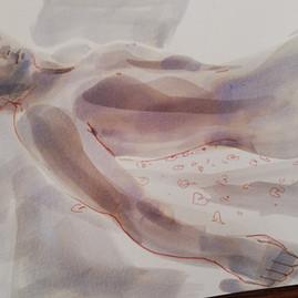 woman sleeping, ink and wash