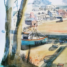 details of painting - The Boat Shelter