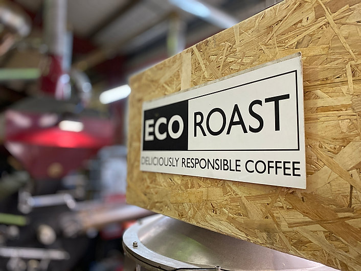 Eco Roast coffee sign at 918 Coffee