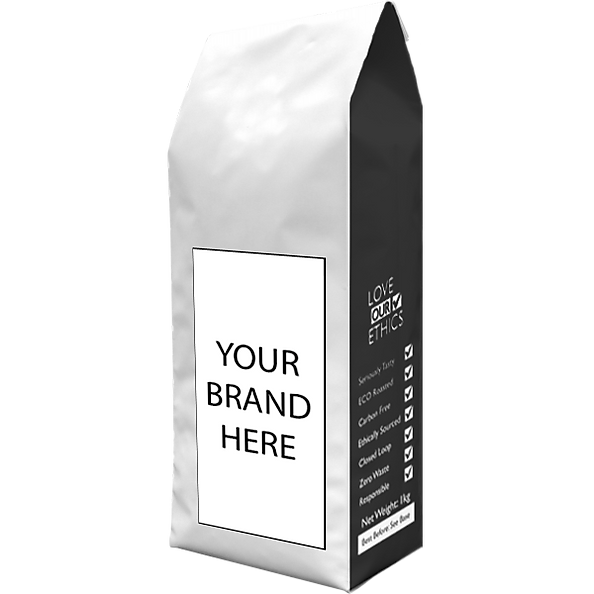 front view of own label coffee bag