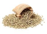 green-coffee-beans-burlap-sack-white-bac