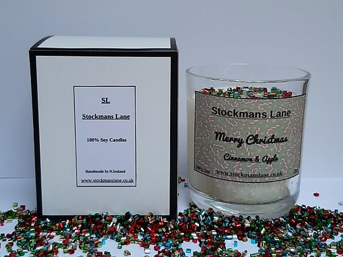 "Merry Christmas 20cl Soy Candle. ""Cinnamon & Apple"""