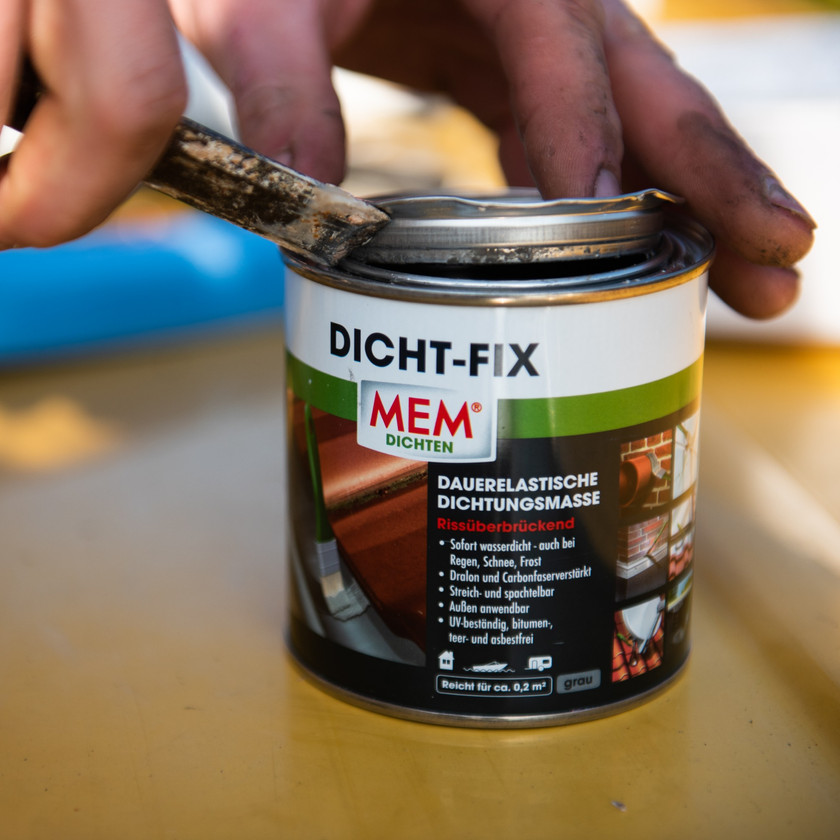 tin of Dicht-Fix to be used on a van conversion