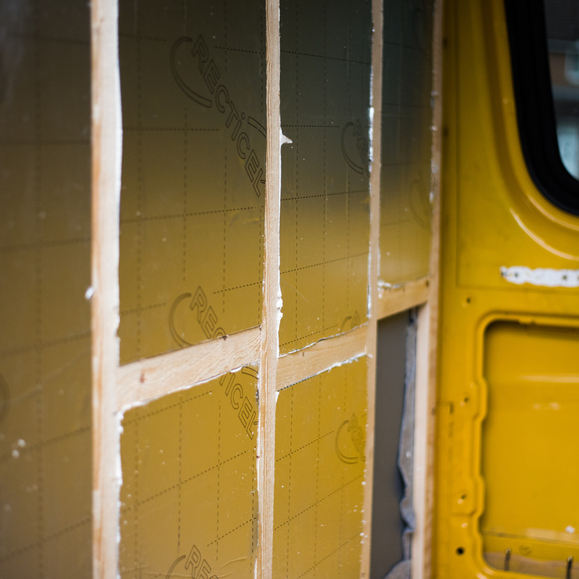 Van conversion bulkhead insulated with Celotex Recticel thermal insulation boards
