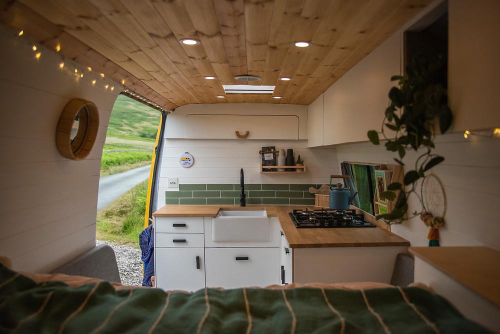 Beautiful self build camper van featuring a Shaws baby belfast sink