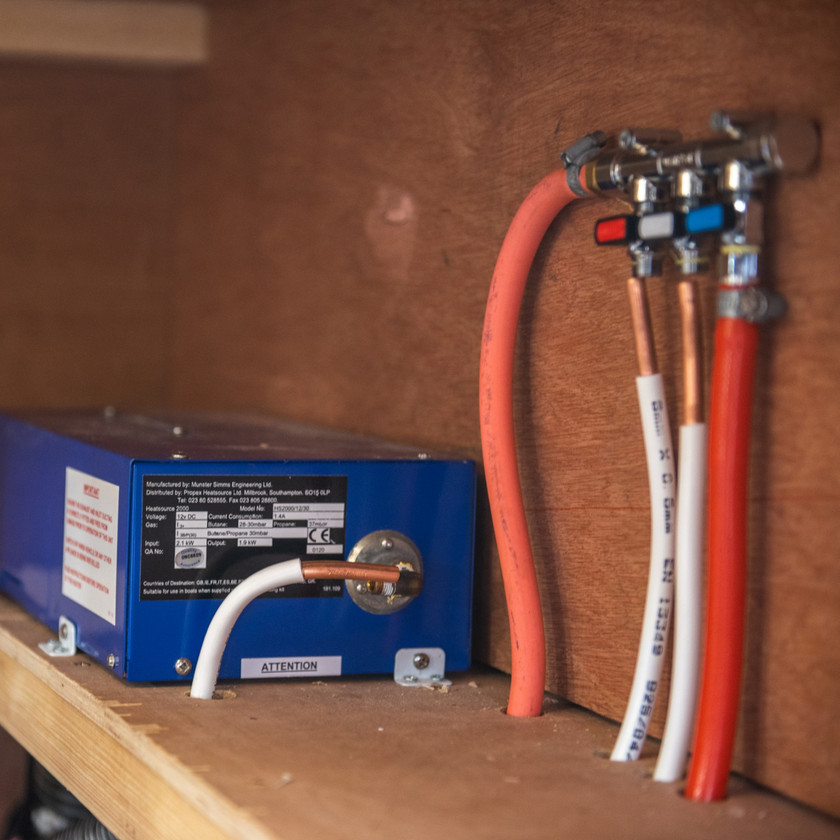 Propex HS2000 space heater and gas manifold in the gas system of a camper van converison