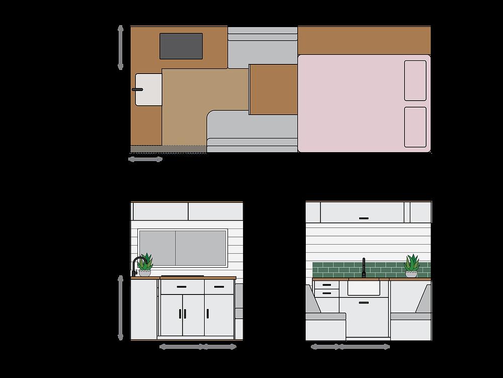 Mercedes Sprinter camper van conversion kitchen layout designed in Adobe Illustrator