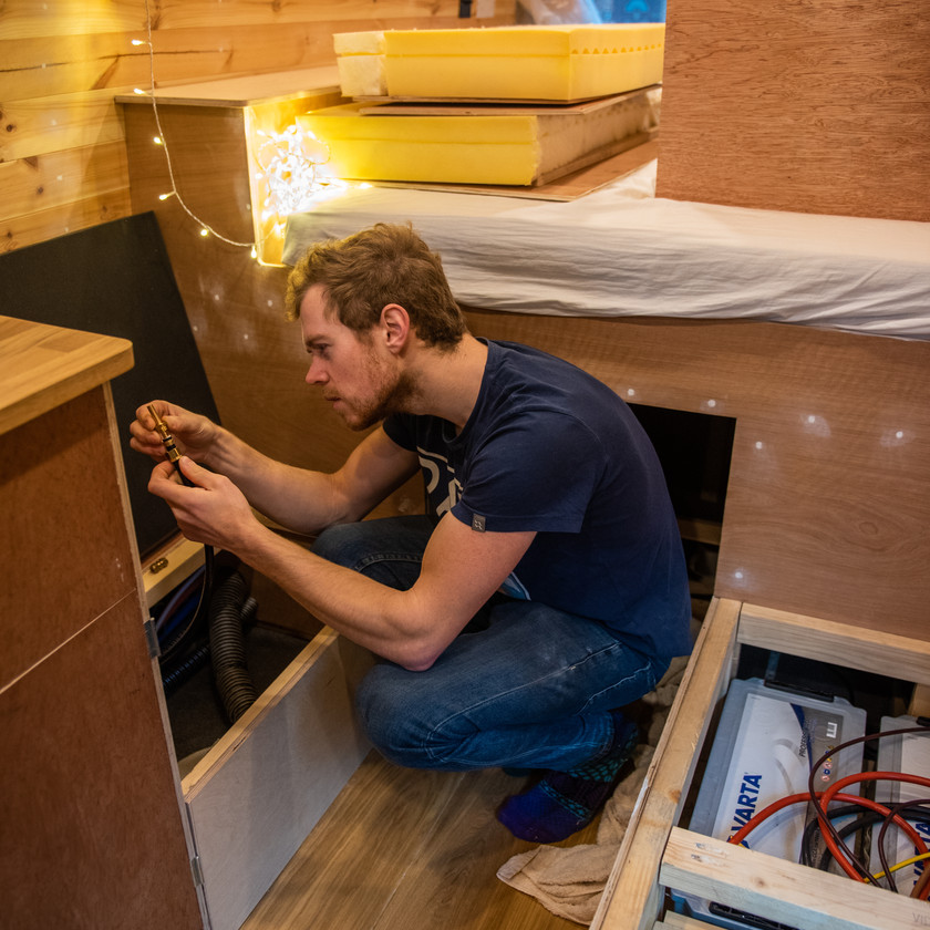 Man installs gas system in a camper van conversion