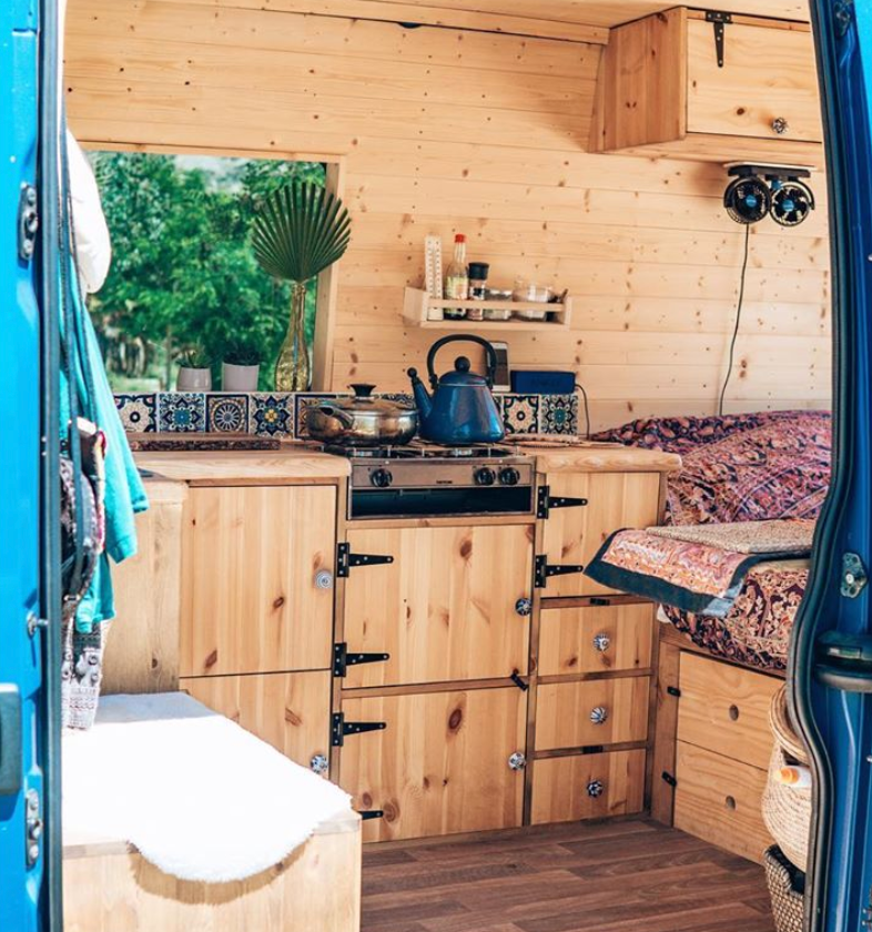 Boho style kitchen inside a Vauxhall Movano camper van conversion