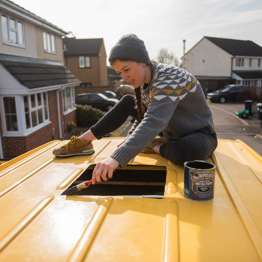 Preparing to install a skylight on a Mercedes Sprinter camper van conversion