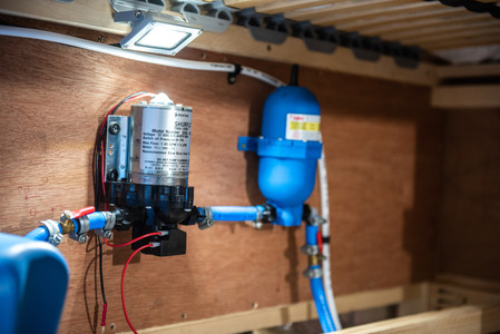 Shurflo water pump and Fiamma A20 accumulator in a campervan water system setup