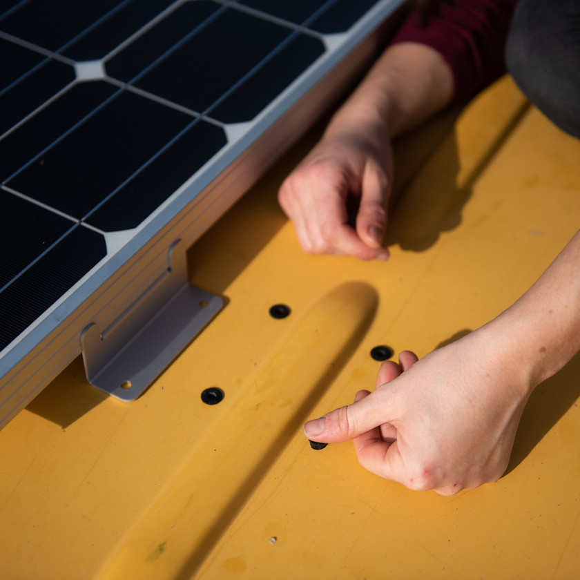using well nuts on a van conversion to install solar panels