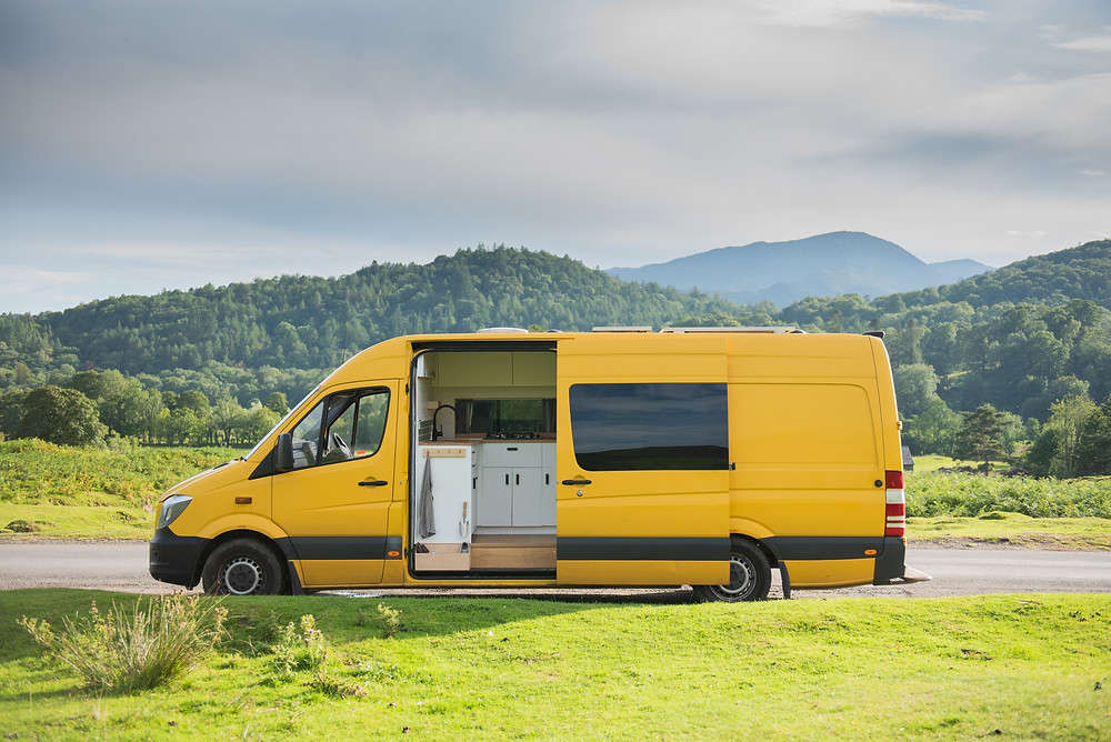 Yellow Sprinter campervan conversion that was refused to be reclassified as a motor caravan / motorhome by the DVLA