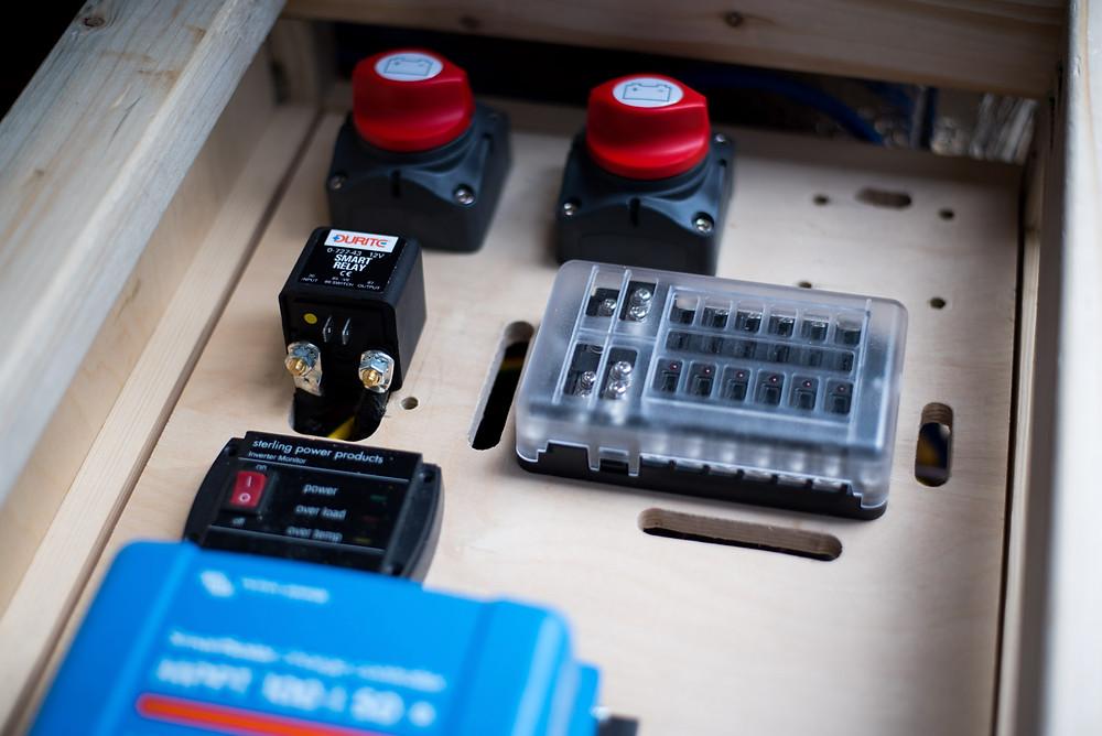 A Durite 0-727-43 split charge intelligent VSR smart relay for campervans