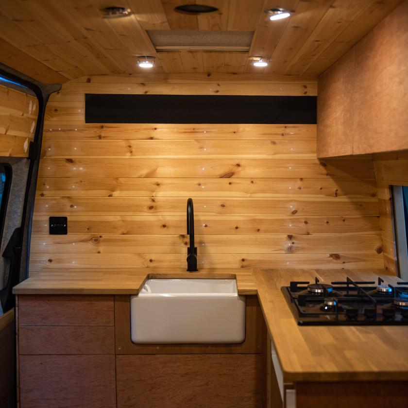 Build in progress - Belfast sink in a camper van conversion kitchen
