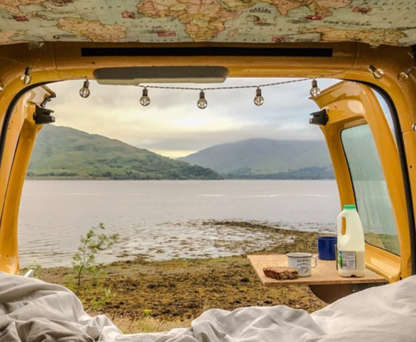 View from the bed of a VW Caddy camper van conversion