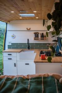 Beautiful Scandi style kitchen in a camper van conversion