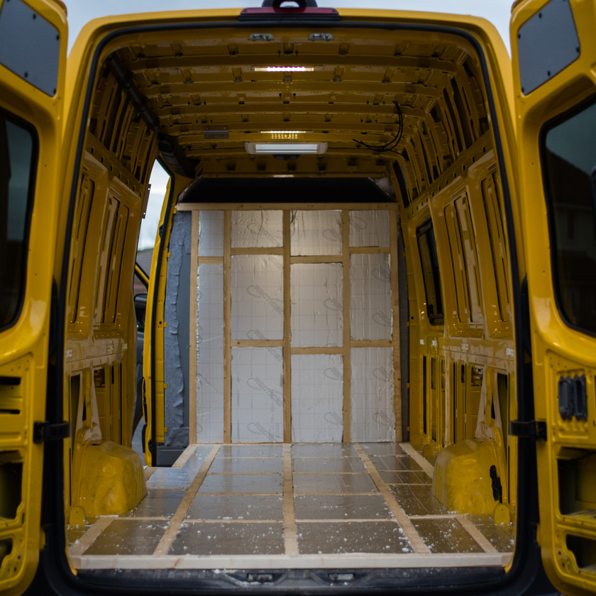 Sprinter van conversion insulated with Celotex Recticel thermal insulation boards