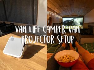 Van life camper van projector setup