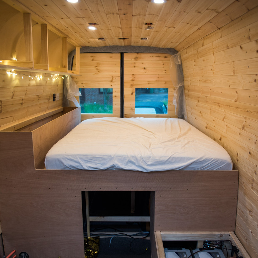 Progress photo of a Sprinter van conversion, fully cladded