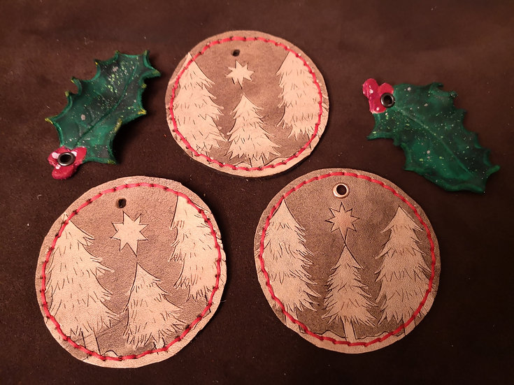 Leather Christmas Decorations - set of 3