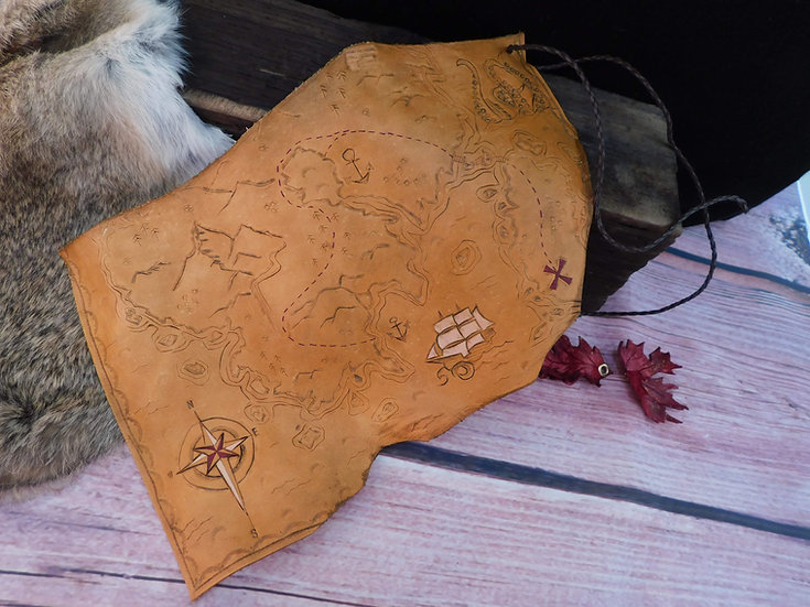 Leather Pirate Map - Hand carved treasure map pirate