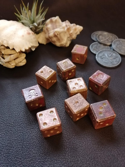 Solid Copper Pirate Dice - Handforged Skull and Crossbones stamped d6