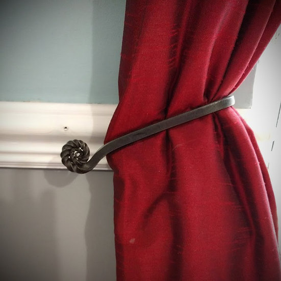 Ammonite curtain tie back - handforged wrought iron rustic living room decor