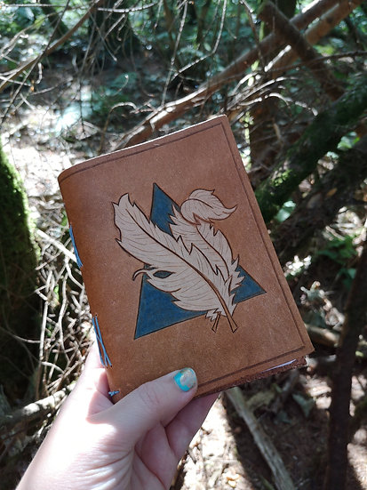 Leather journal - Hand carved Feather Quill leather journal