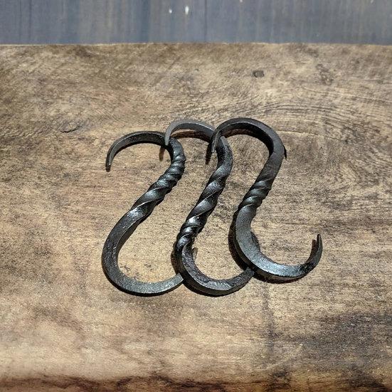 3x S hooks - Pan pot hooks rustic farmhouse kitchen Handforged Steel