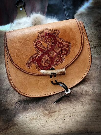 Leather Belt Pouch - Norse Viking Sporran Belt bag Dragon Serpent Nidhogg