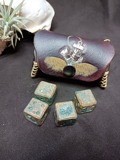 Limited Edition - Copper Patina Dice & Leather Chest