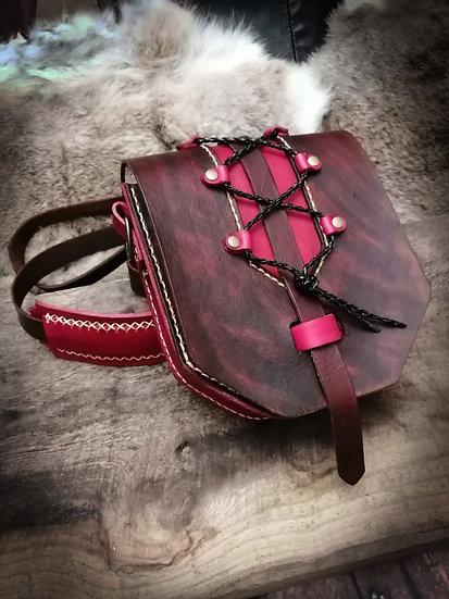 Leather Corset Bag - Handbag, handstiched real leather shoulder bag