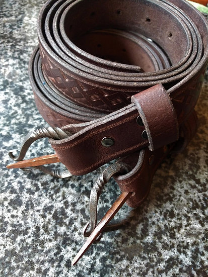 Norse style Belt with handforged Iron & Copper buckle - Hand tooled Celtic